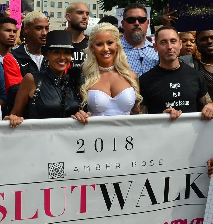 Amber Rose joins her mom Dorothy Rose and thousands of fans and women's right activists for the 2018 Slutwalk march in downtown Los Angeles