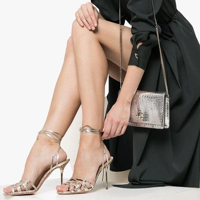 Aquazzura Azur Ankle-Wrap Snakeskin-Embossed Metallic Leather Sandals