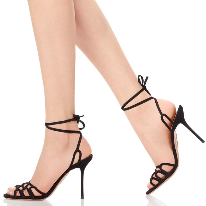 Rich Black Velvety Suede Azur Sandals
