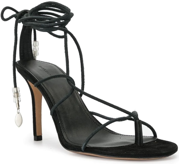 Black leather Askee sandals from Isabel Marant featuring an open toe, a strappy design, a wrap tie ankle fastening, a high stiletto heel, a covered velvet finish and silver-tone bead charm trims