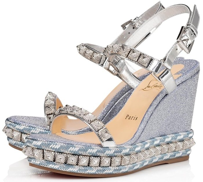 Silver Specchio straps perch atop 110 mm wedge platform soles, incorporating Mini Glitter fabric in Jeans and intricate embroidery detail