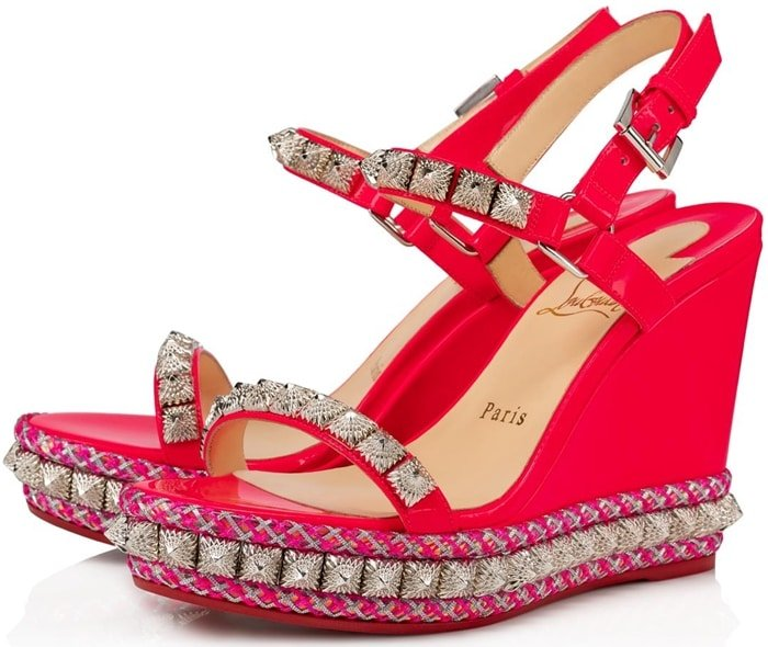 Rose patent leather straps perch atop 110 mm tone-on-tone wedge platform soles, incorporating intricate embroidery