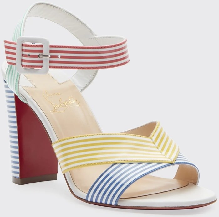 "Christian Louboutin ""Palavas"" sandal in multicolored striped calf leather"