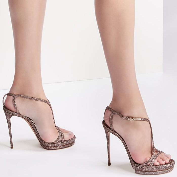 City Light sandals from Casadei featuring crystal embellishments, an open toe, an ankle strap with a side buckle fastening, a branded insole and a high stiletto heel