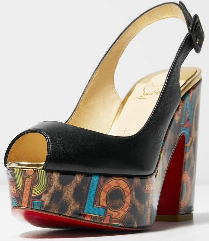 Jazzy logo letters overlay a leopard print on the platform heel of a playfully chic sandal with a slingback strap and that iconic Louboutin-red sole