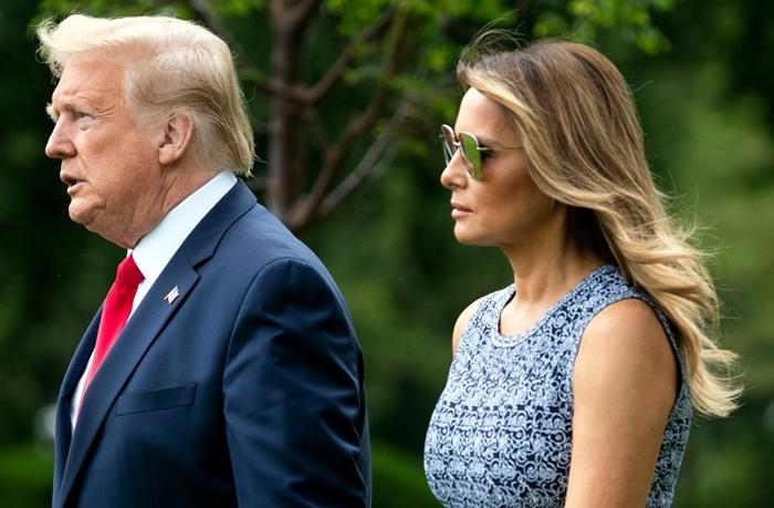 Melania Trump's Dior square sunglasses in metal