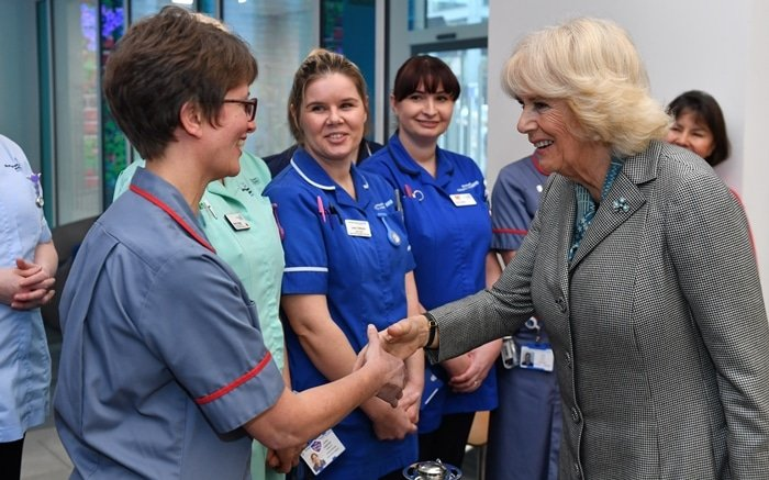 The Duchess of Cornwall meeting nurses during a visit to Birmingham Children's Hospital