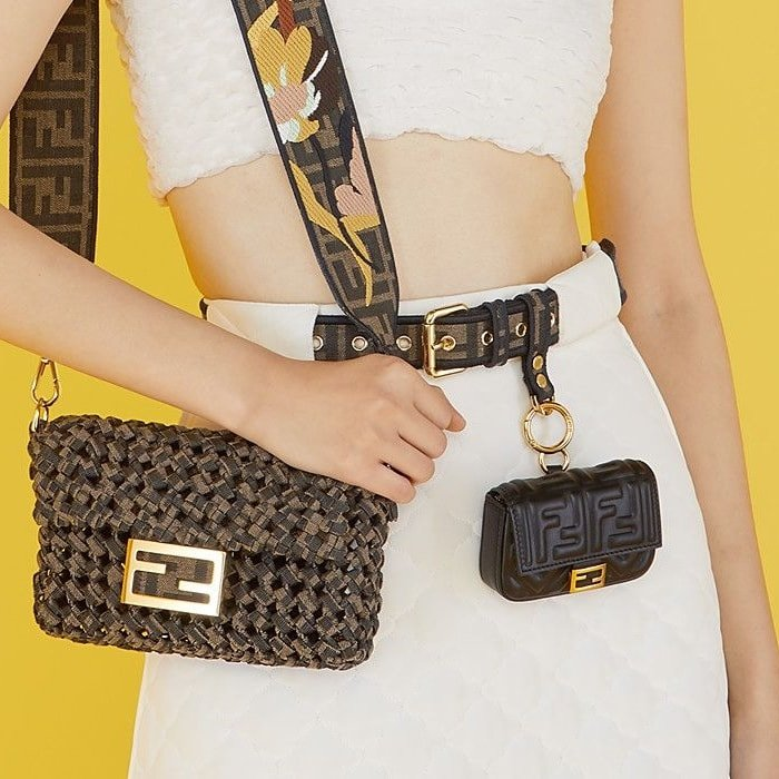 Multi-accessorized Fendi belt with key ring and clip