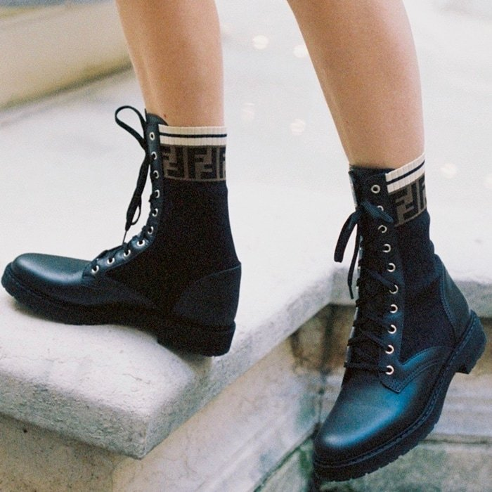 Fendi Rockoko combat boots with stretch fabric inserts