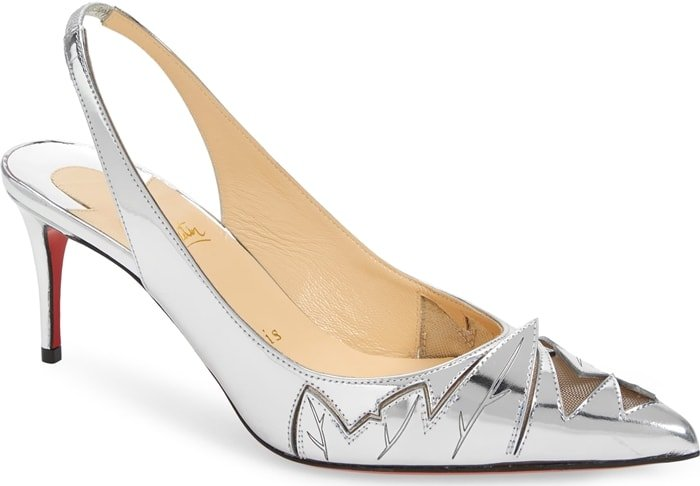 Jagged cutouts lined with peekaboo mesh bring playful attitude to a pointy-toe slingback pump crafted from gleaming metallic leather
