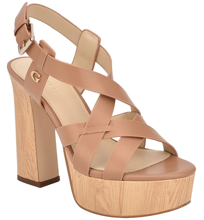 Guess 'Jolley' Strappy Blonde Wooden Heels
