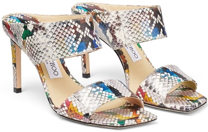 These multicolored glossy printed elpahe HIRA 85 mules epitomize effortless glamour