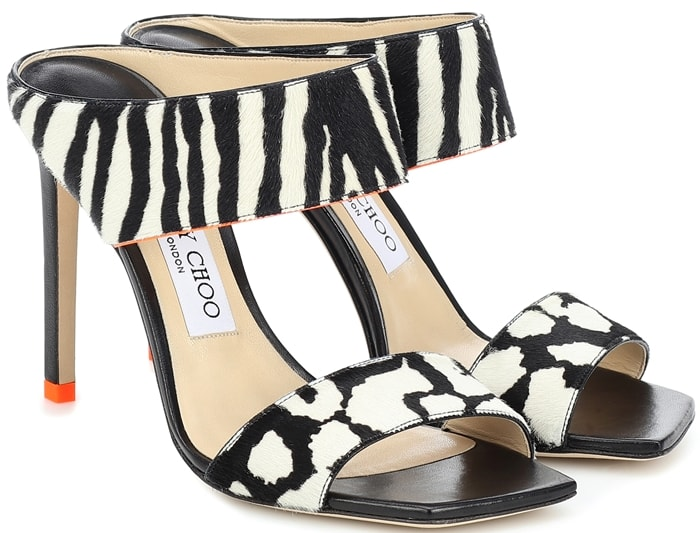 Jimmy Choo Hira zebra-print sandals feature a menagerie of monochrome animal prints for statement style