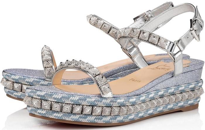 Jean Fabric Studded Flatform Espadrille Sandals