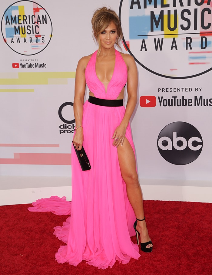 Jennifer Lopez wearing a Georges Chakra creation at the 2018 American Music Awards at the Microsoft Theater in Los Angeles on October 9, 2018