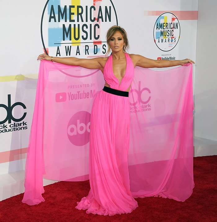 Jennifer Lopez's Georges Chakra pink chiffon gown is up for auction at eBay