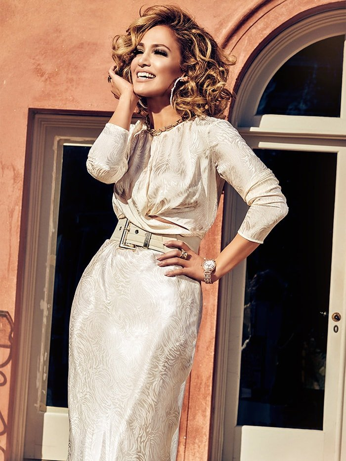 Jennifer Lopez in Guess Evolette twisted tie top and midi skirt