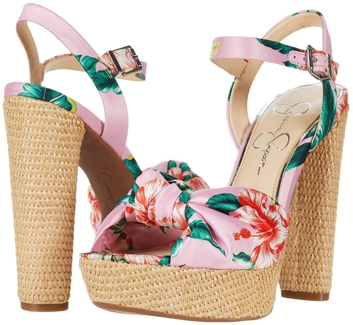 Heeled Jessica Simpson sandals feature a textile upper with knotted detailing