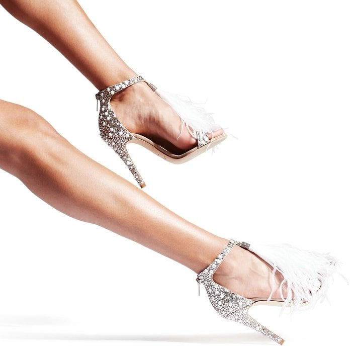 Jimmy Choo Viola White Suede and Hot Fix Crystal Embellished Sandals with an Ostrich Feather Tassel