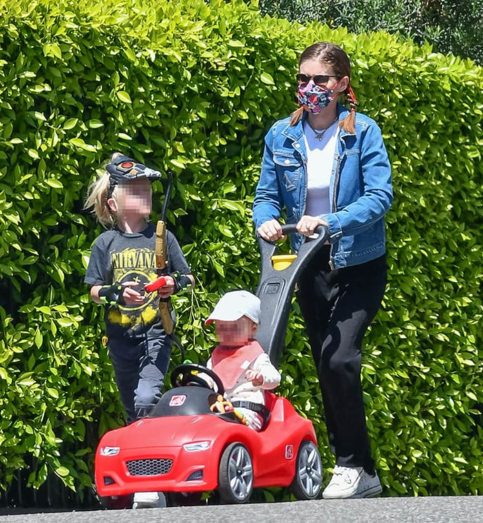 Kate Mara takes her daughter and stepson Jack Matfin Bell out for a stroll