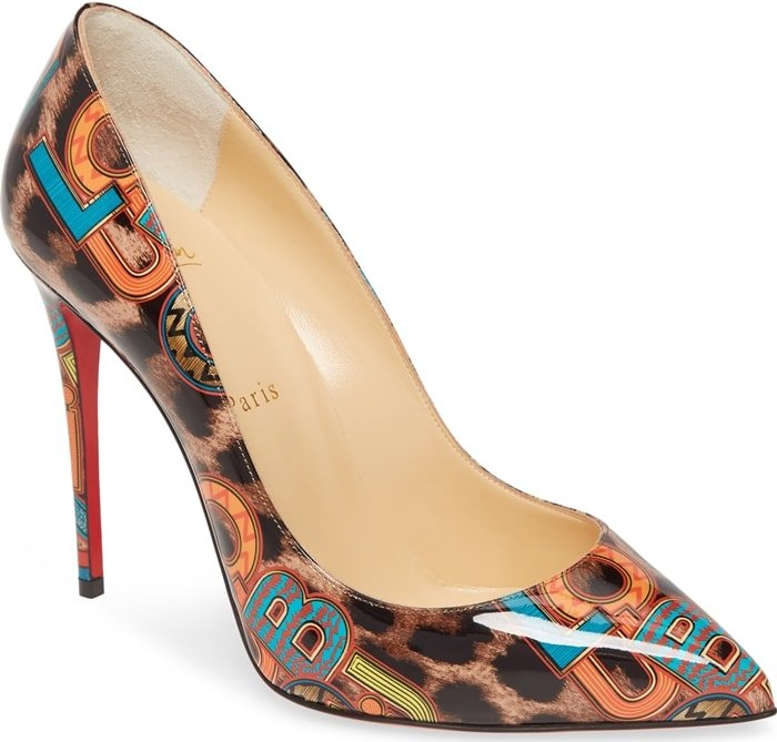Jazzy logo letters overlay a leopard print on a glossy, playfully chic pump with a daring stiletto heel and that iconic Louboutin-red sole