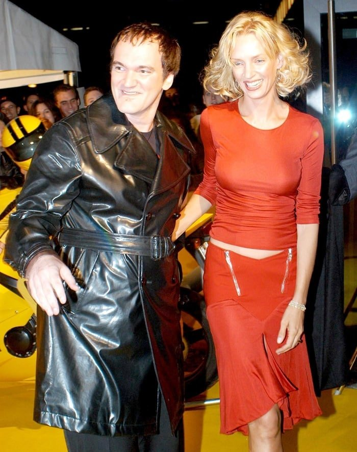 "Writer/director Quentin Tarantino and actress Uma Thurman arrive at the premiere of their new film ""Kill Bill Volume 1"""