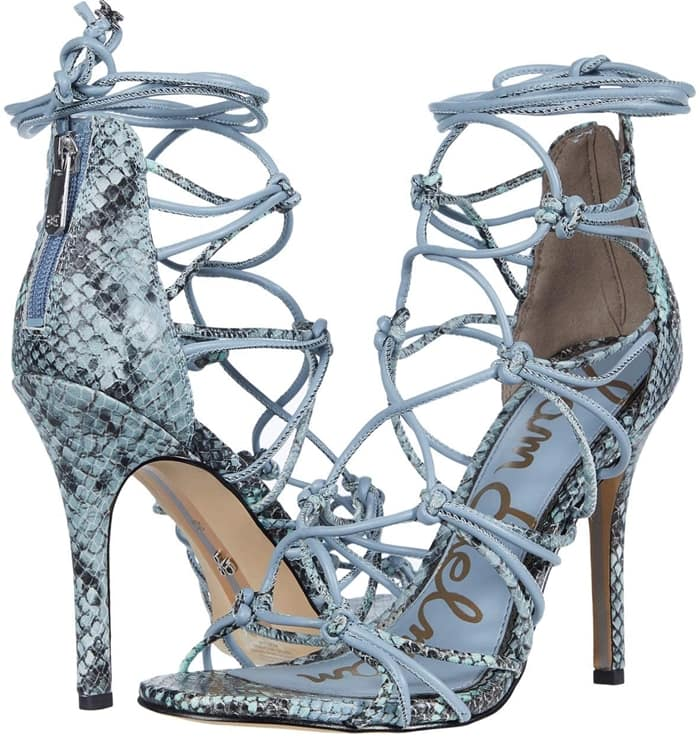 Cloud Blue Leather Adella Leather Lace-Up Cage Pumps