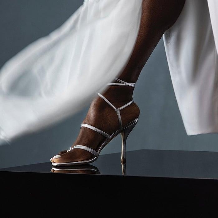 Serena Williams wears a pair of Stuart Weitzman Julina sandals