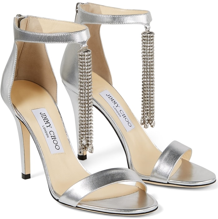 These silver metallic nappa leather sandals are crafted in Italy to a timeless double-strap shape with a stiletto heel and back zip fastening for a secure fit