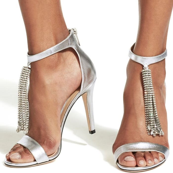 Silver Metallic Nappa Leather Viola Sandals With Crystal Chandelier