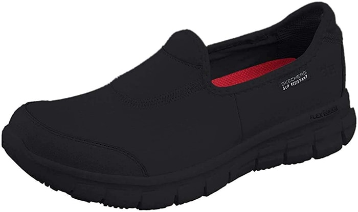 Black Skechers Work Sure Track Slip-On Shoes