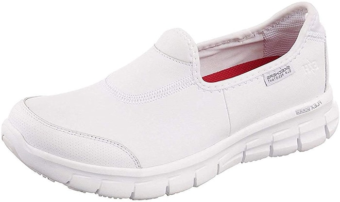 White Skechers Work Sure Track Slip-On Shoes