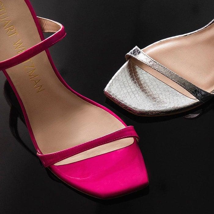 Stuart Weitzman Aleena sandals in metallic snakeskin and pink leather versions