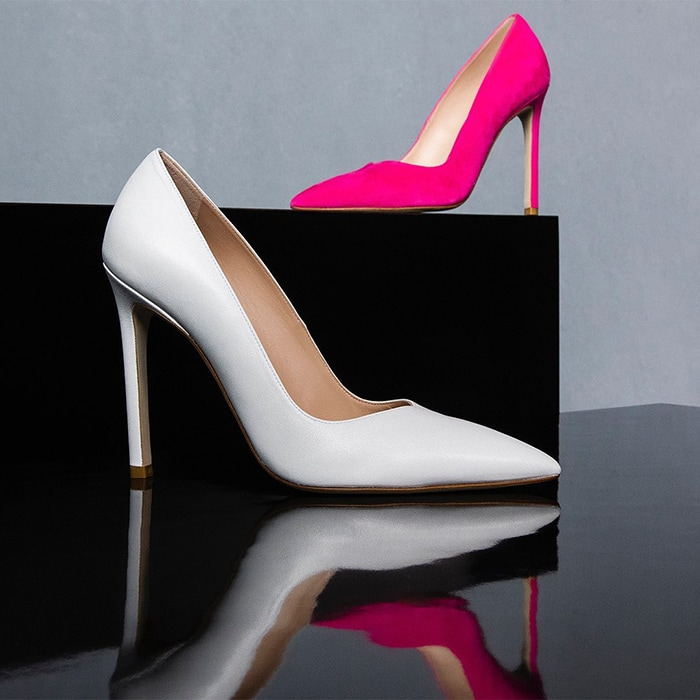 Stuart Weitzman Anny Pumps in white and hot pink versions