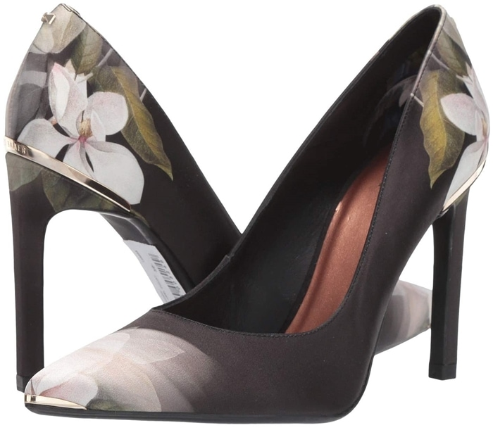 The black floral Ted Baker Melnip heel adds an eye-catching boost to any ensemble