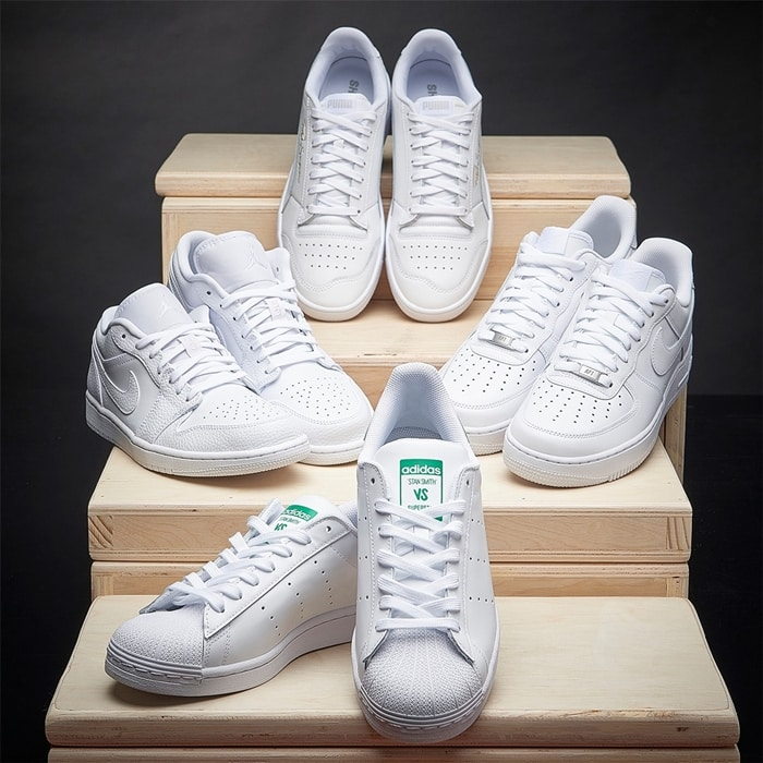 White sneakers at Eastbay from Adidas, Jordans, Puma, and Nike