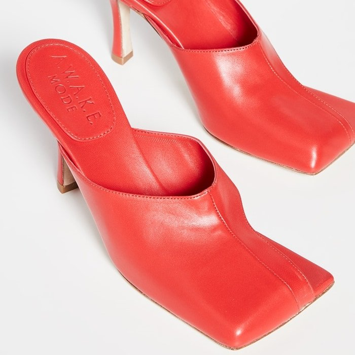 Square toe red Mary mules with asymmetrical cutout