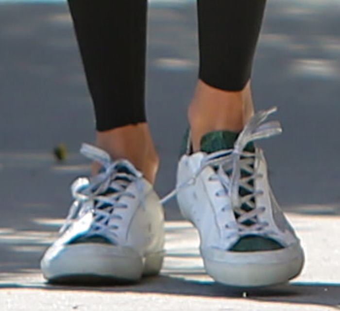 Alessandra Ambrosio teams her athleisure outfit with Golden Goose sneakers