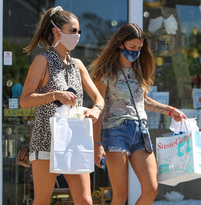 Alessandra Ambrosio leaves SusieCakes with a friend in Los Angeles