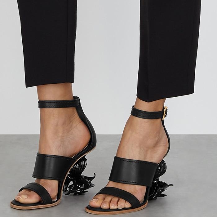 Black Alexander McQueen No. 13 flower wedge sandals