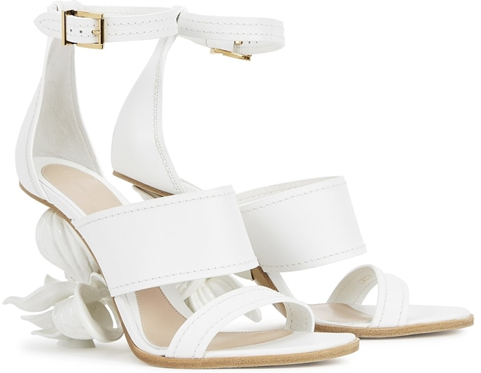 White Alexander McQueen No.13 80 flower wedge leather sandals feature a lacquered magnolia flower heel and straight strap silhouette