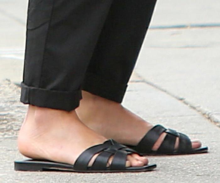 Ana de Armas shows off her feet in Saint Laurent slide sandals