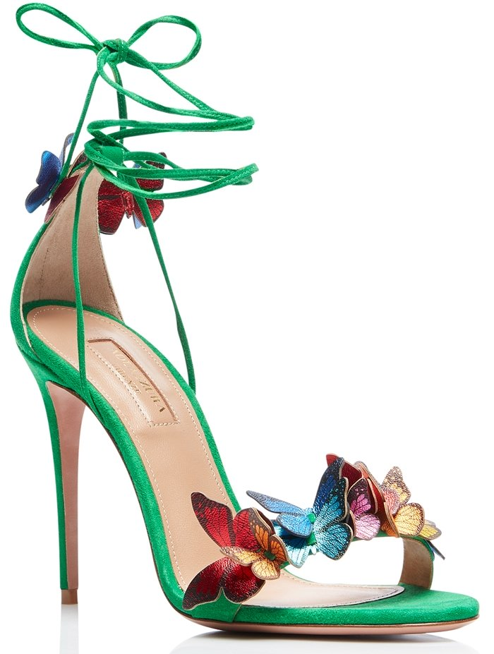 Aquazzura Papillon sandal in velvety jungle green suede