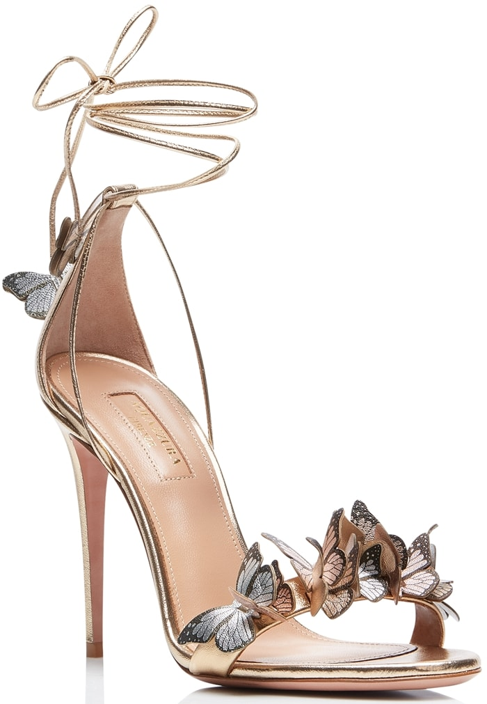 High-Shine Metallic Leather Papillon Sandals