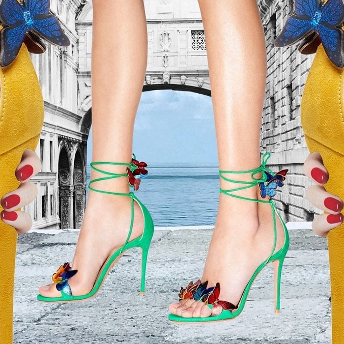 Papillon sandals in velvety jungle green suede