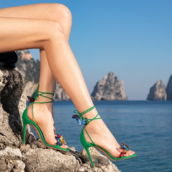 Velvety Jungle Green Suede Papillon Sandals