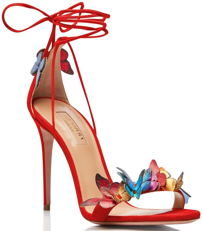 These vivid lipstick red calf suede Papillon butterfly-appliqué sandals from Aquazzura will leave you feeling confident rather than nervous before that date you have next weekend