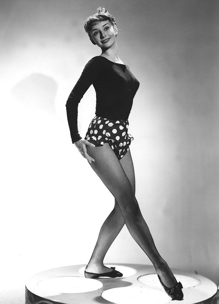 Audrey Hepburn's long legs and huge feet