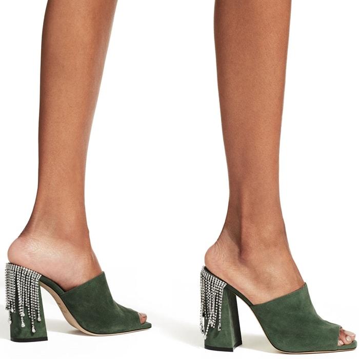 Baia Cactus Suede Block-Heel Mules with Crystal Drape