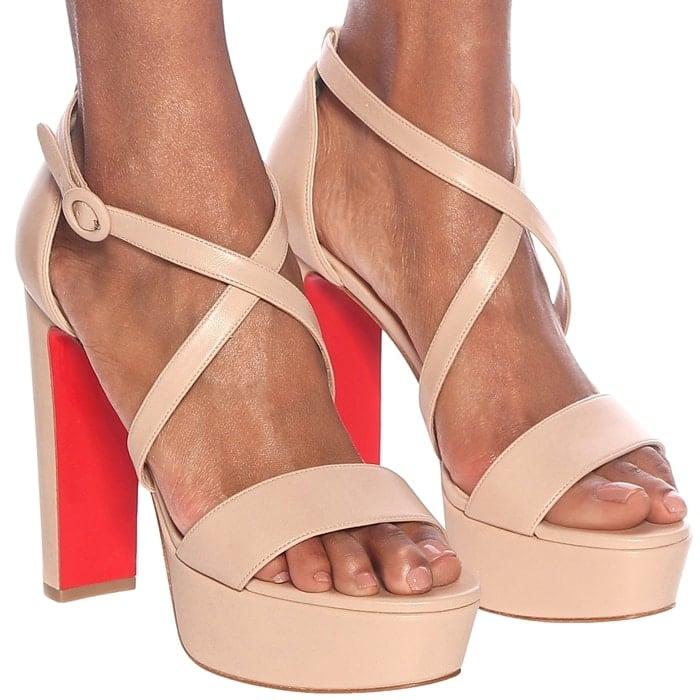 Beige Calf Leather Loubie Bee Alta Strappy Platform Sandals